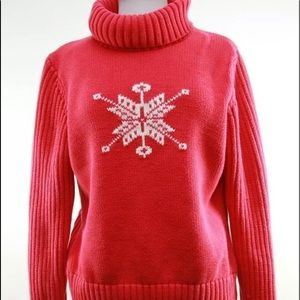 Lands End Red Snowflake Pullover Sweater Wool